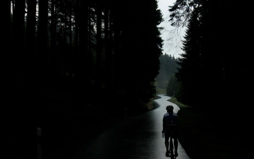 Rainy bicycle ride